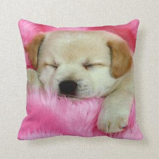 Puppy Dog Sleeping on Pink Throw Pillow