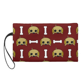 Puppy dog With Bone Patterned Wristlet