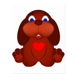 Puppy Dog with Red Heart Postcard