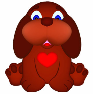 Puppy Dog with Red Heart Statuette