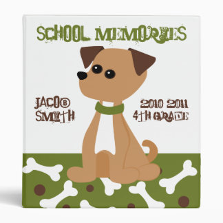 Puppy Doggie in Green 3 Ring Binders
