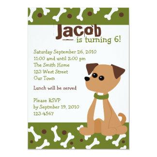 Puppy Doggie in Green 5x7 Paper Invitation Card