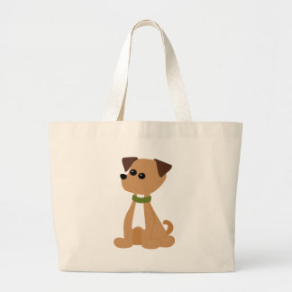 Puppy Doggie in Green Large Tote Bag