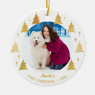 Dogs First Christmas Ornament.Puppy Dogs First Christmas Custom Pet Photo Ceramic Ornament