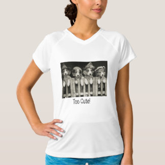 """Puppy Dogs on Fence """"Too Cute"""" Tee"""