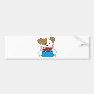 Puppy Eating Steak Bumper Sticker