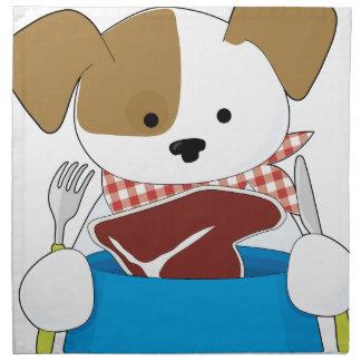 Puppy Eating Steak Printed Napkin