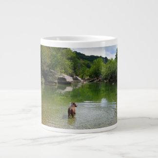 Puppy Exploring Barton Creek - Austin Texas Giant Coffee Mug