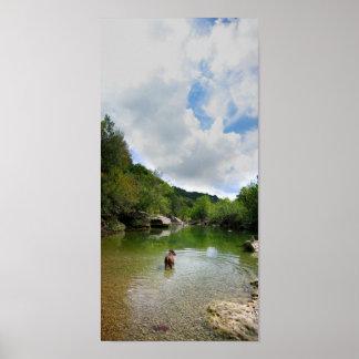 Puppy Exploring Barton Creek - Austin Texas Poster