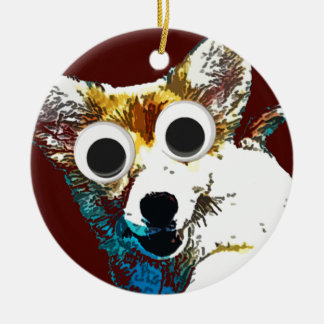 Puppy Eyes Double-Sided Ceramic Round Christmas Ornament
