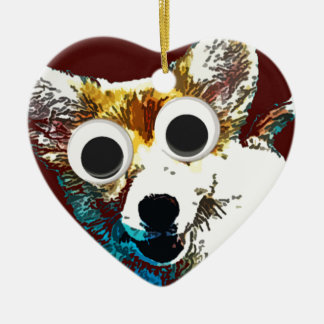 Puppy Eyes Double-Sided Heart Ceramic Christmas Ornament