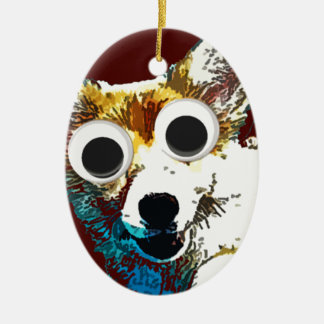 Puppy Eyes Double-Sided Oval Ceramic Christmas Ornament