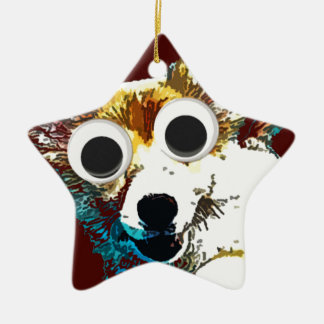 Puppy Eyes Double-Sided Star Ceramic Christmas Ornament