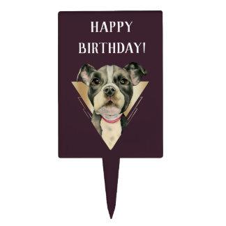 """""""Puppy Eyes"""" Pit Bull Dog Painting 4 Birthday Cake Topper"""
