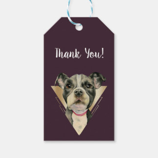 """""""Puppy Eyes"""" Pit Bull Dog Painting 4 Thank You Gift Tags"""