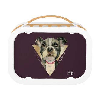 """""""Puppy Eyes"""" Pit Bull Dog Painting 4 with initials Lunch Box"""