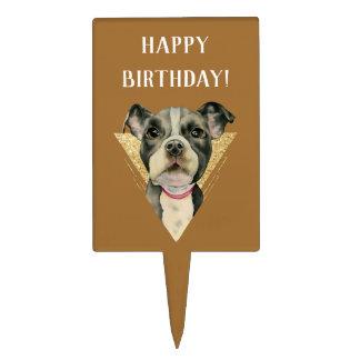 """Puppy Eyes"" Pit Bull Dog Watercolor 3 Birthday Cake Topper"