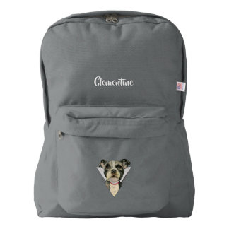 """""""Puppy Eyes"""" Pit Bull Dog Watercolor Painting 2 American Apparel™ Backpack"""