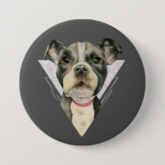 """""""Puppy Eyes"""" Pit Bull Dog Watercolor Painting 2 Pinback Button"""