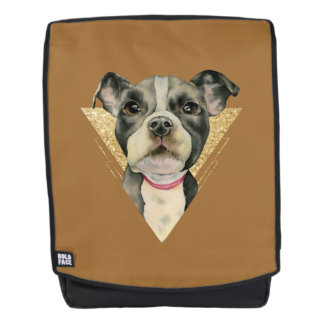 """""""Puppy Eyes"""" Pit Bull Dog Watercolor Painting 3 Backpack"""