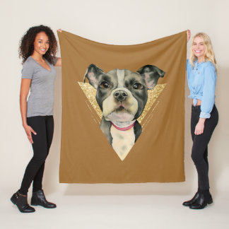 """""""Puppy Eyes"""" Pit Bull Dog Watercolor Painting 3 Fleece Blanket"""
