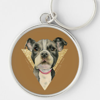 """""""Puppy Eyes"""" Pit Bull Dog Watercolor Painting 3 Keychain"""