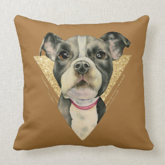 """""""Puppy Eyes"""" Pit Bull Dog Watercolor Painting 3 Throw Pillow"""