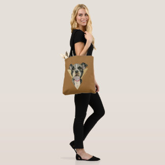 """""""Puppy Eyes"""" Pit Bull Dog Watercolor Painting 3 Tote Bag"""
