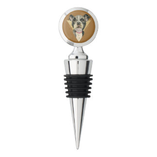 """""""Puppy Eyes"""" Pit Bull Dog Watercolor Painting 3 Wine Stopper"""