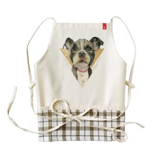 """""""Puppy Eyes"""" Pit Bull Dog Watercolor Painting 3 Zazzle HEART Apron"""