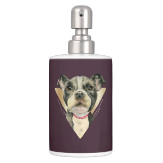 """""""Puppy Eyes"""" Pit Bull Dog Watercolor Painting 4 Bath Set"""