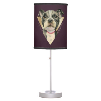 """""""Puppy Eyes"""" Pit Bull Dog Watercolor Painting 4 Desk Lamp"""
