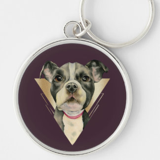 """""""Puppy Eyes"""" Pit Bull Dog Watercolor Painting 4 Keychain"""