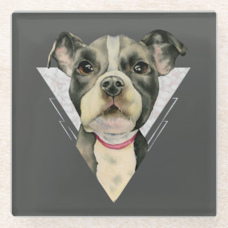 """""""Puppy Eyes"""" Pit Bull Dog Watercolor Painting Glass Coaster"""