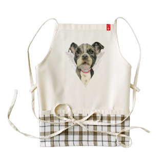 """""""Puppy Eyes"""" Pit Bull Dog Watercolor Painting Zazzle HEART Apron"""