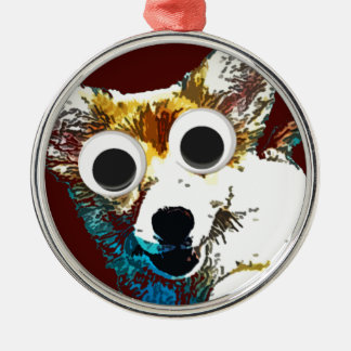 Puppy Eyes Round Metal Christmas Ornament