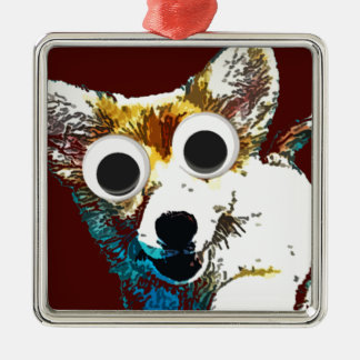 Puppy Eyes Square Metal Christmas Ornament