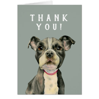 Puppy Eyes Watercolor Painting Thank You Card