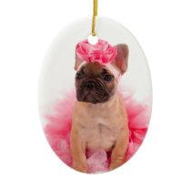 Puppy french bulldog disguised ceramic ornament