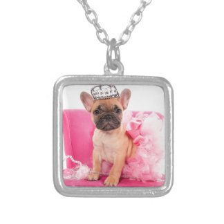 Puppy french bulldog disguised silver plated necklace