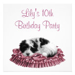 Puppy Girl's 10th Birthday Party Invitation