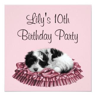 """Puppy Girl's 10th Birthday Party Invitation 5.25"""" Square Invitation Card"""