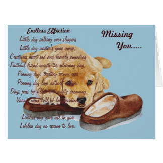 puppy golden retriever dog portrait missing you card