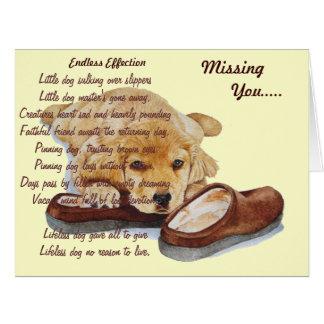 puppy golden retriever missing you original poem card