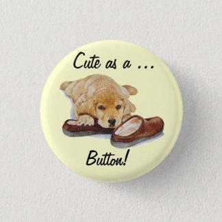 puppy golden retriever portrait cute dog slogan button