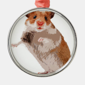 Puppy Hamster Round Metal Christmas Ornament