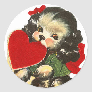 Puppy Heart | Valentine | Round Stickers