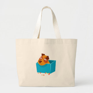 Puppy Hiding In Box Surrounded By Apple Cores Large Tote Bag