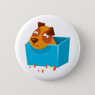 Puppy Hiding In Box Surrounded By Apple Cores Pinback Button