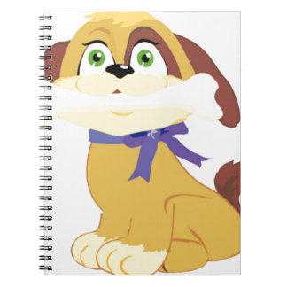 Puppy holding a bone in his mouth spiral note book